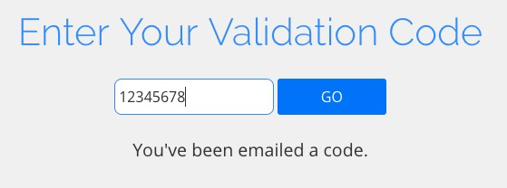 Enter your validation code and click Go