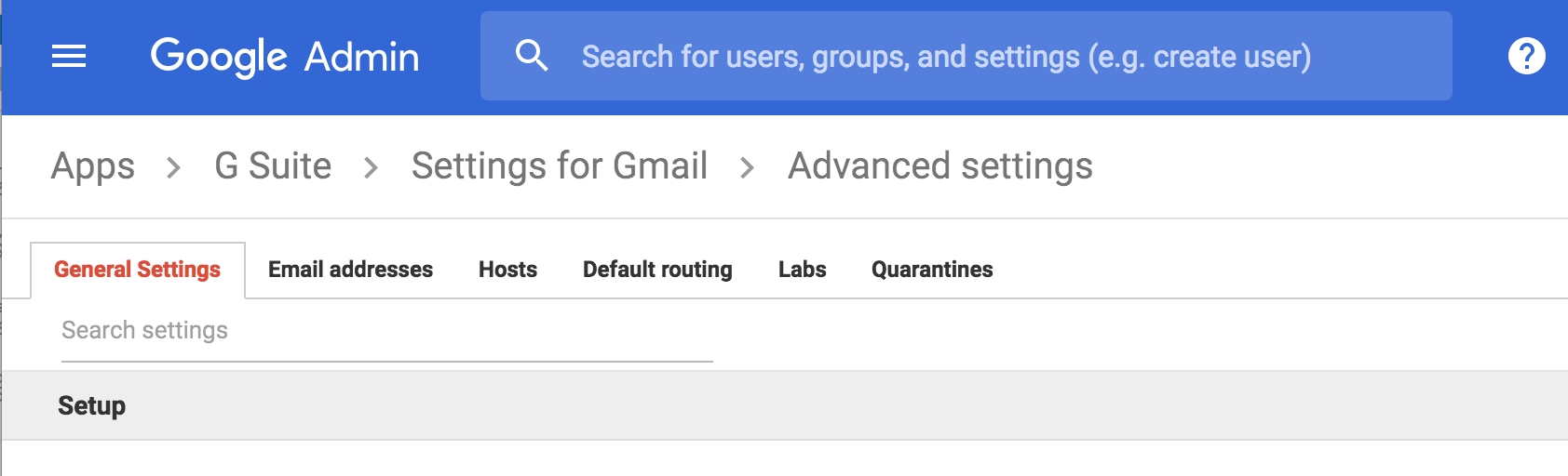 Google Admin Console Advanced settings set up - general settings section