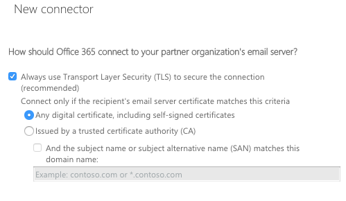 How should Office 365 connect to your partner organization's email server