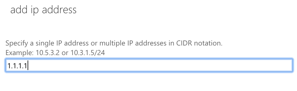 Add ip address