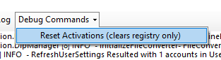 Reset Activations option highlighted in debug command menu