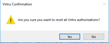 Virtru confirm reset activation dialog box with yes button highlighted