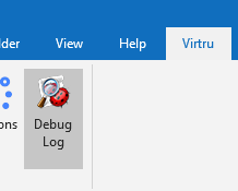 Virtru tab with Debug log button highlighted