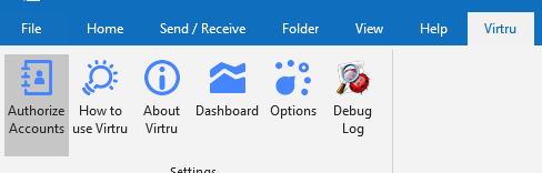 Virtru toolbar in Outlook with Authorize Accounts button highlighted