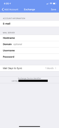 Exchange Manual Configuration page on virtru app