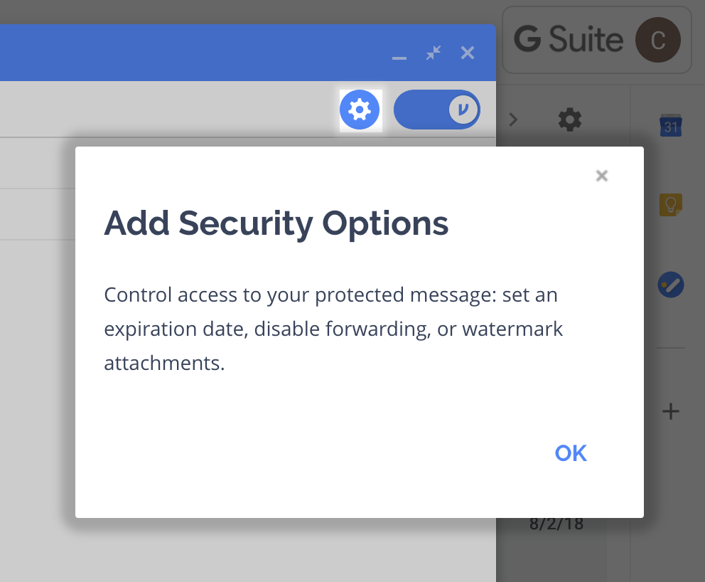 Gear option highlighted with modal explaining additional security options
