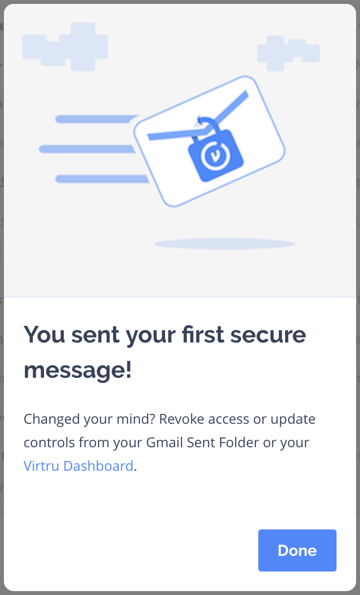 Modal letting user know that their secure Virtru email has been sent and how to update it