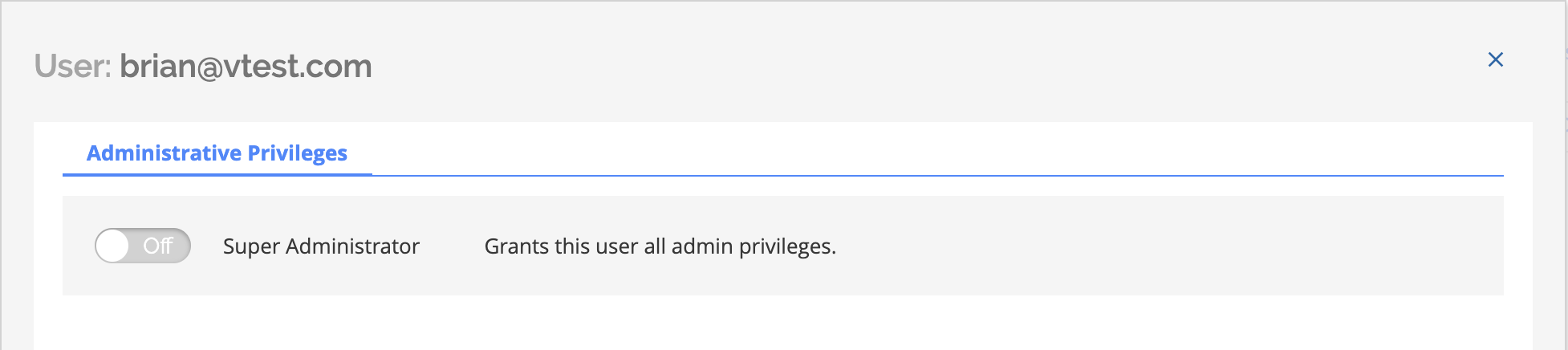 Administrative privileges toggle off