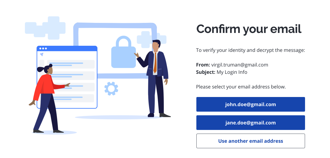 Virtru page with option to choose email address to confirm identity