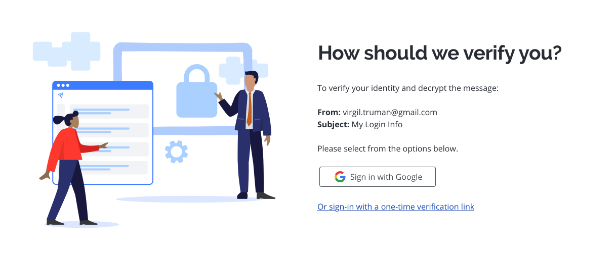 Virtru page with option to Sign in with Google