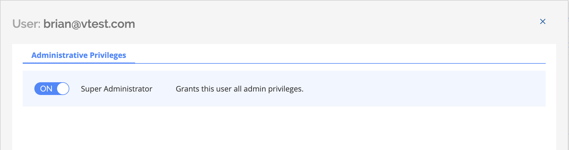 Administrative privileges toggle on