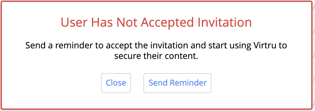 User has not accepted invitation error message