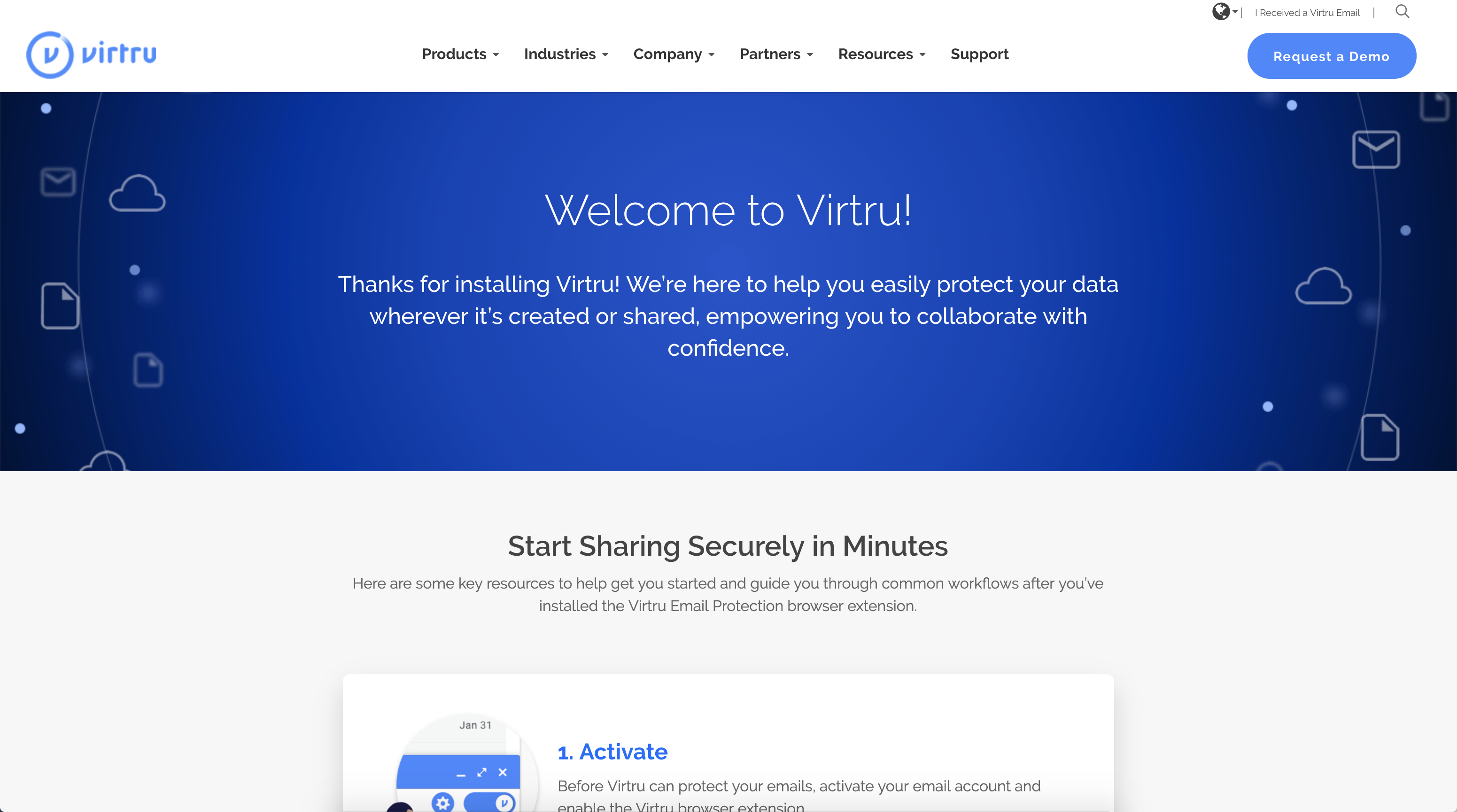 Virtru website welcome page