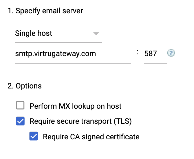 Specify email server and options