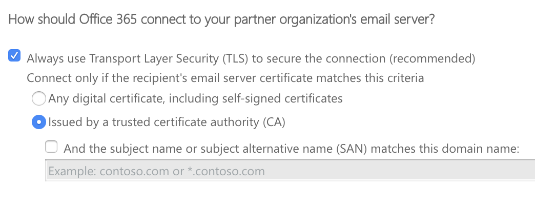 How should office 365 connect to your partner organizations email server?