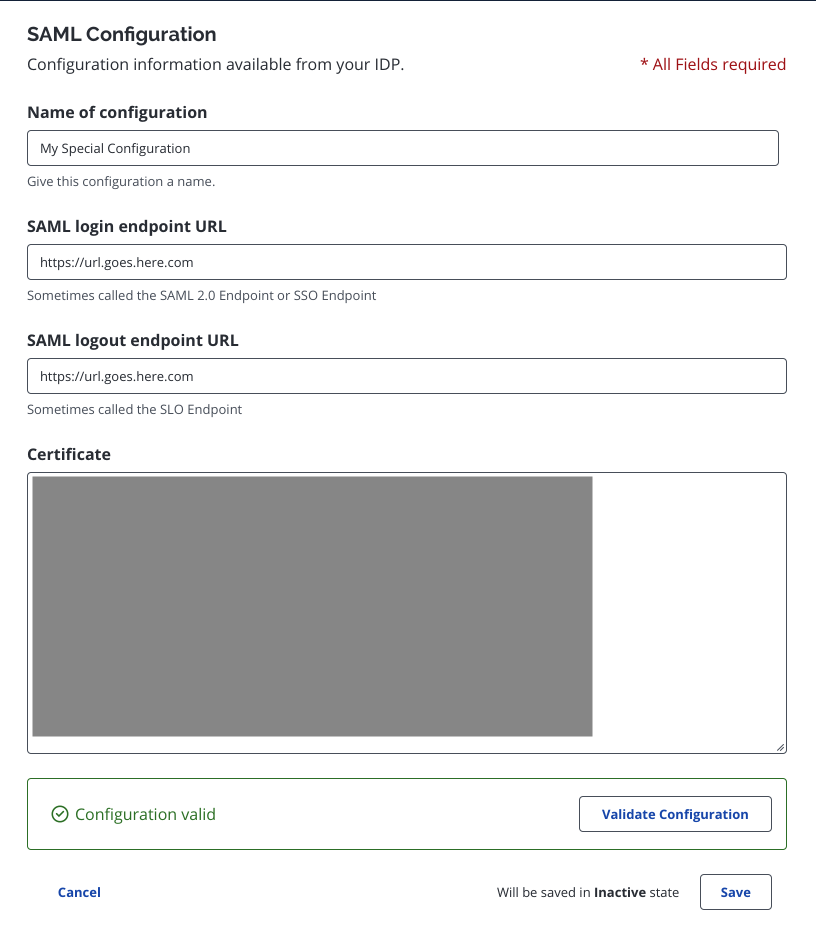 SAML configuration fields