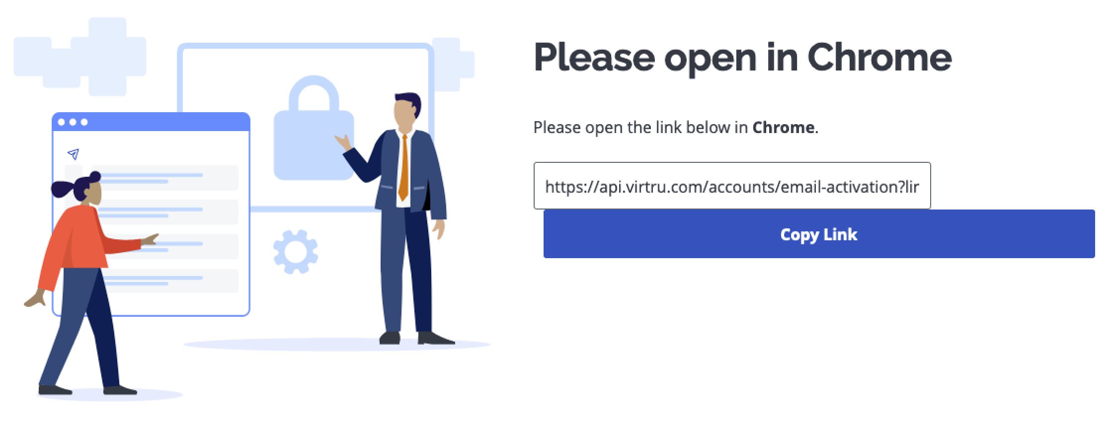 Image of error instructing user to open link in a different browser