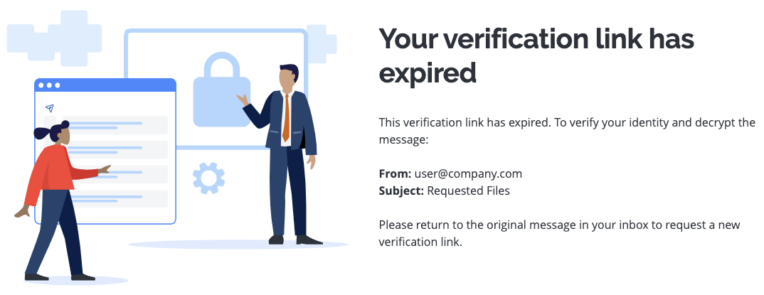 Image of Your verification link has expired error