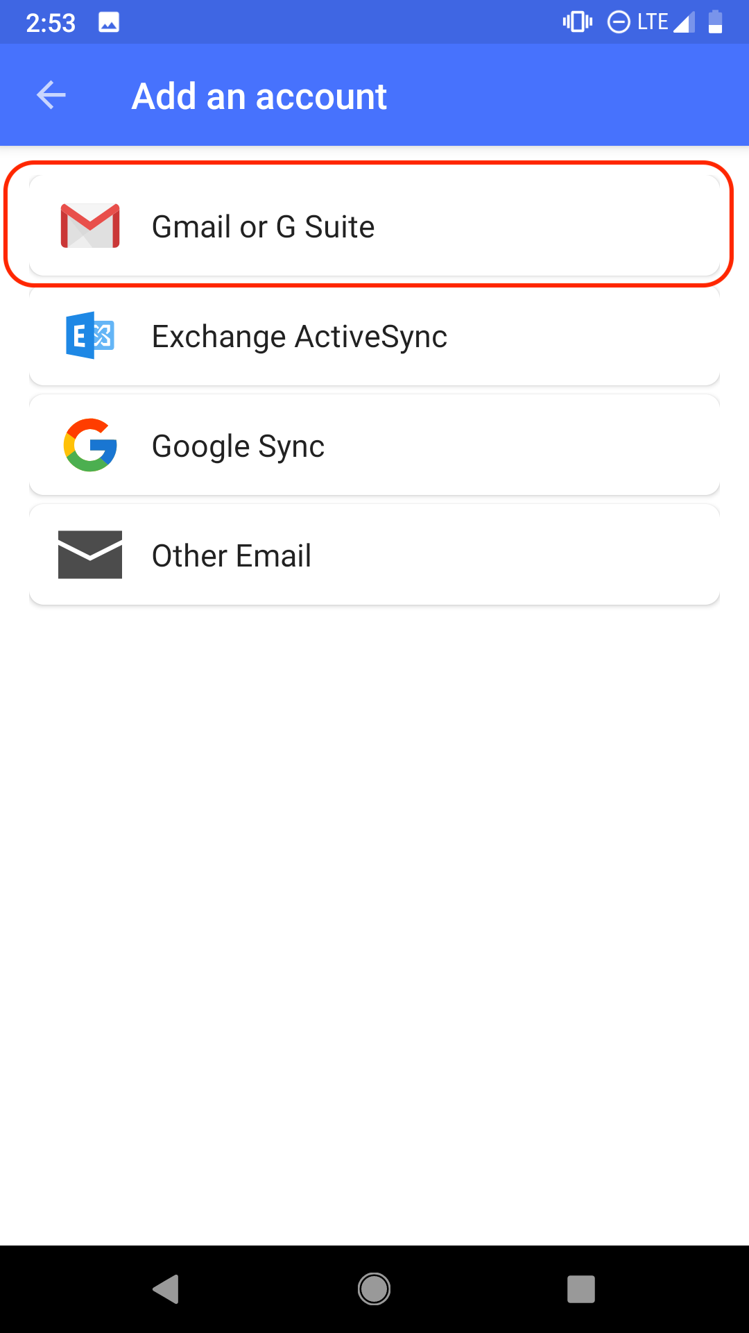 Virtru Android Add Account Screen with Gmail or Gsuite circled