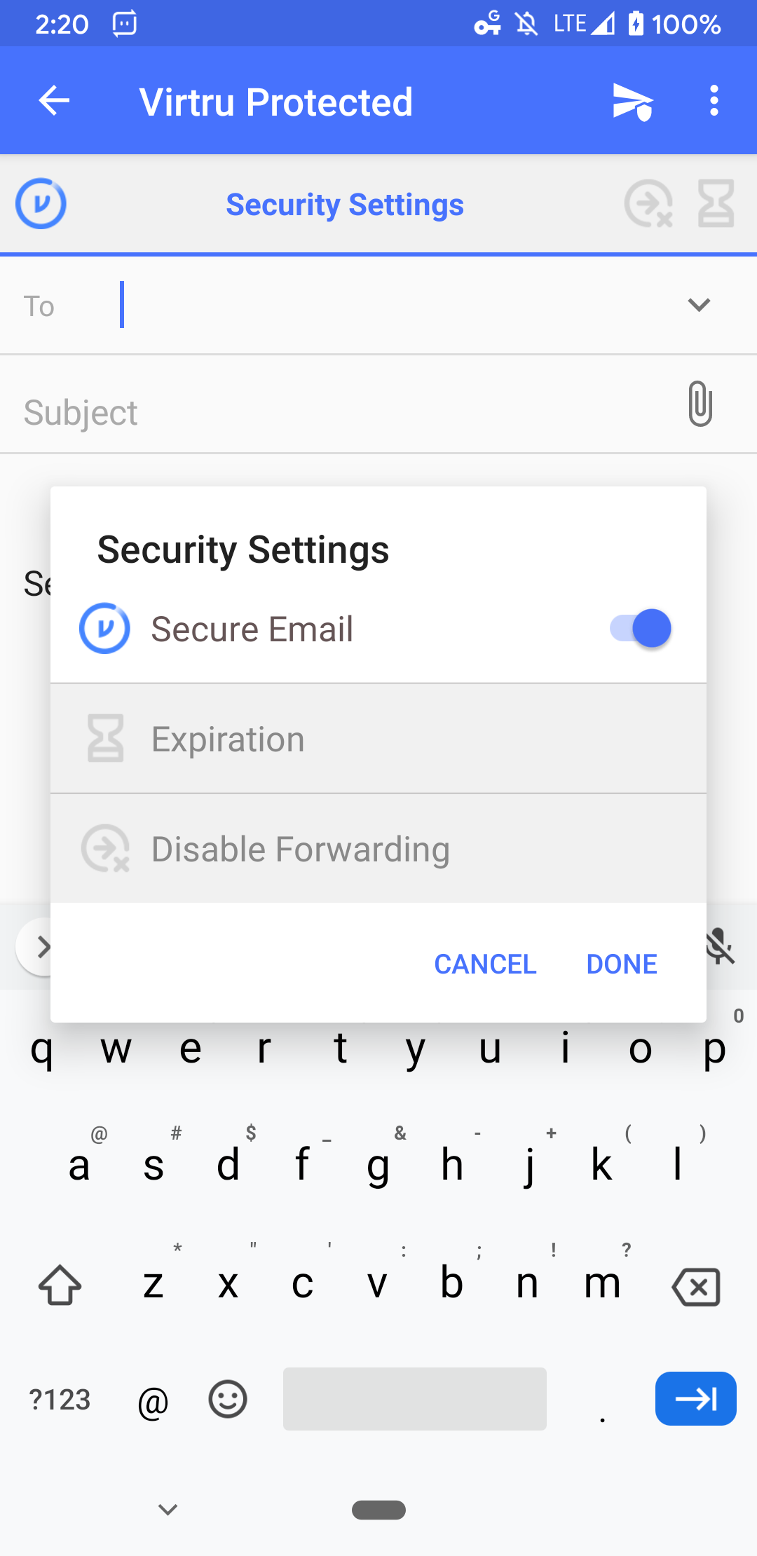 Secure email toggle option in Virtru Android app
