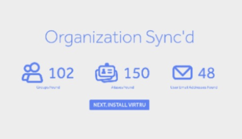 Sync success screen with example user counts