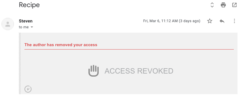 ACCESS REVOKED prompt in Gmail