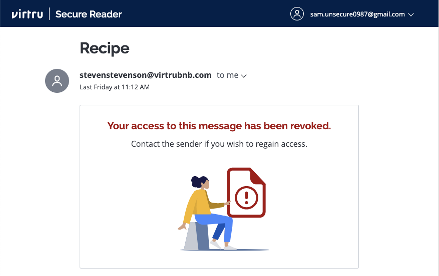 Access revoked messaging in Secure Reader