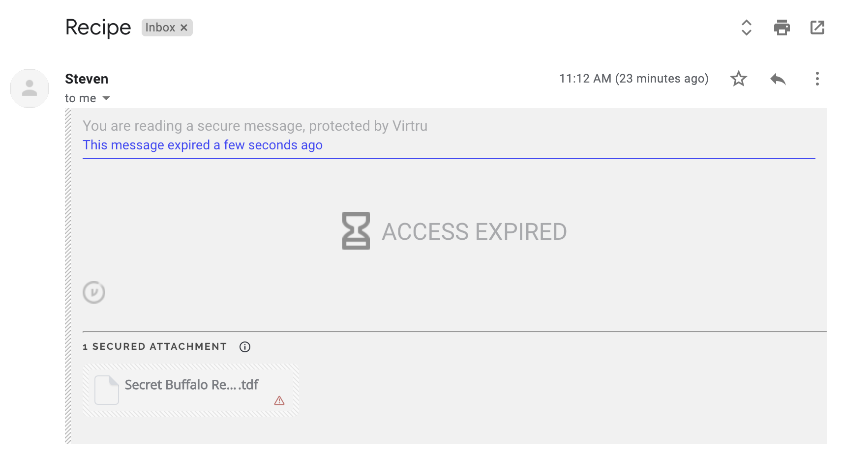 ACCESS EXPIRED prompt in Gmail