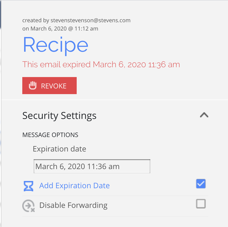 Security Settings in the Dashboard