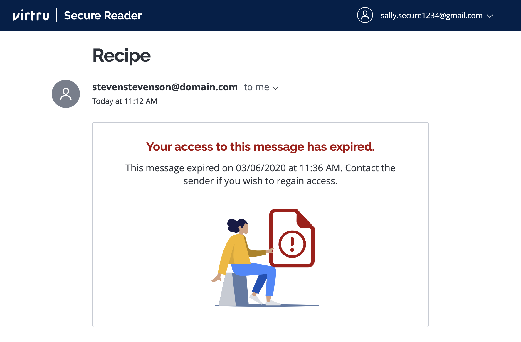 Expiration message in Secure Reader