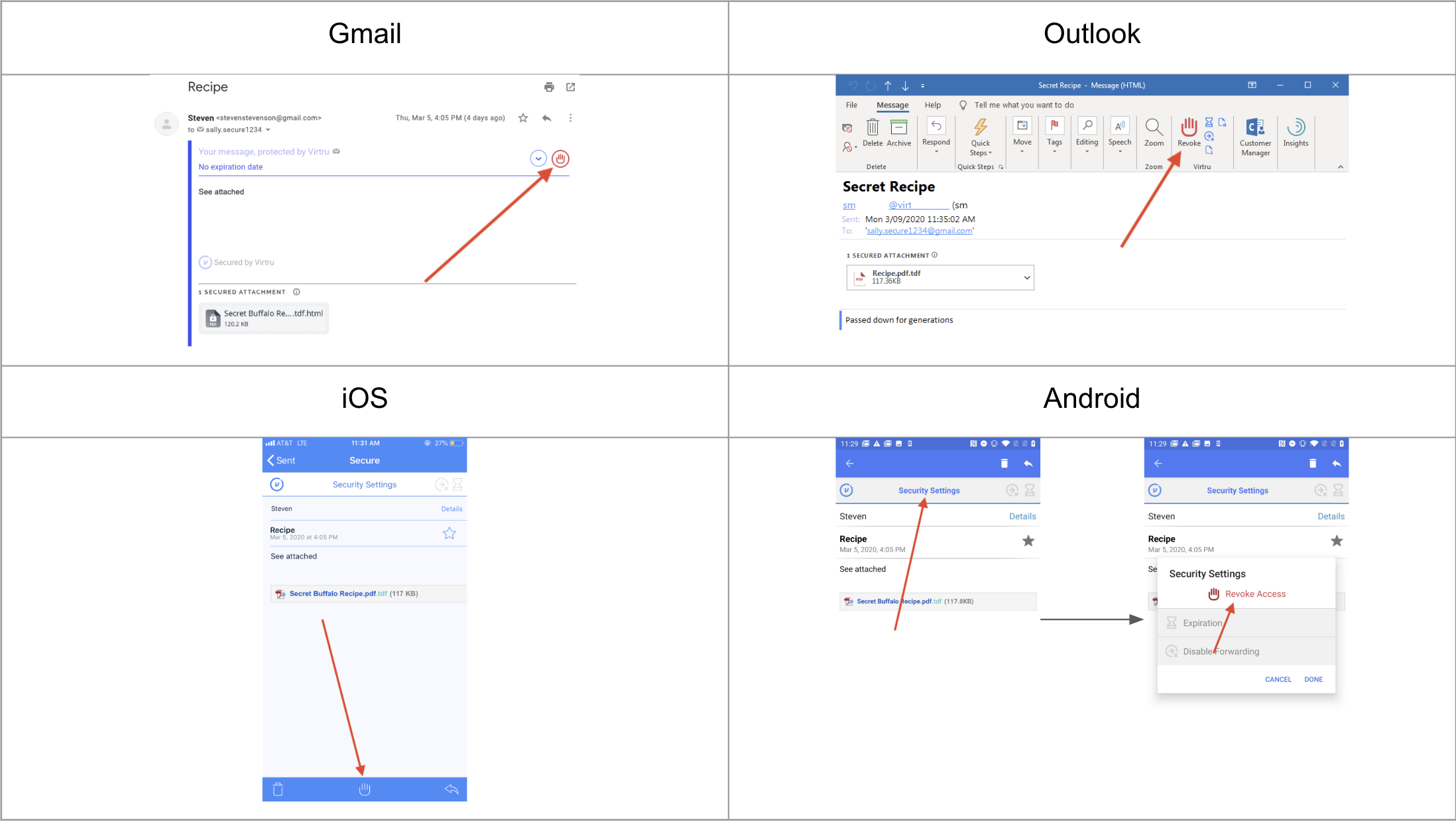 Revoke option in email clients