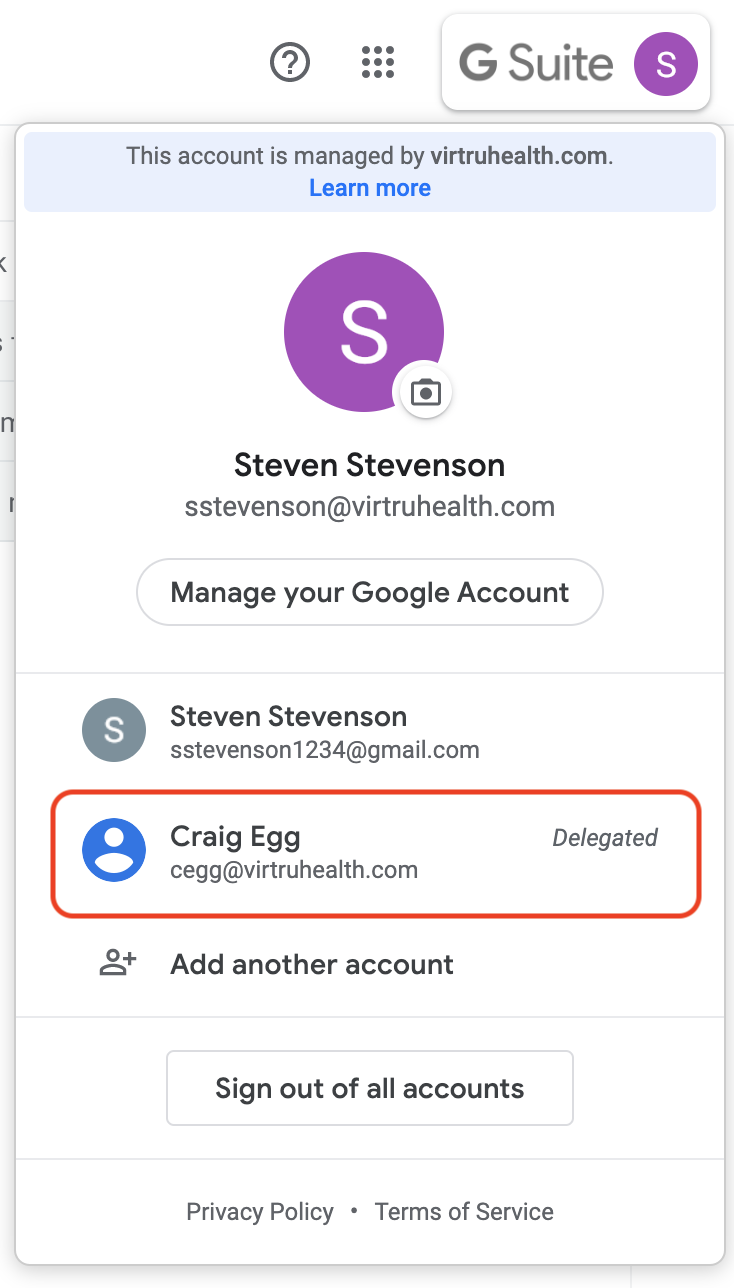 Google Accounts menu