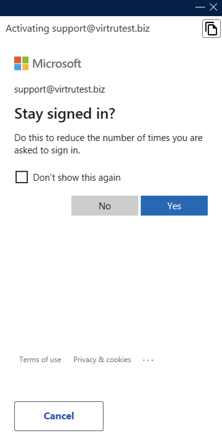 Stay signed in? For sign in with Microsoft