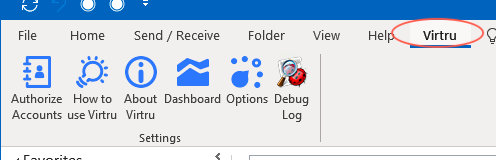 Virtru tab in Outlook options display
