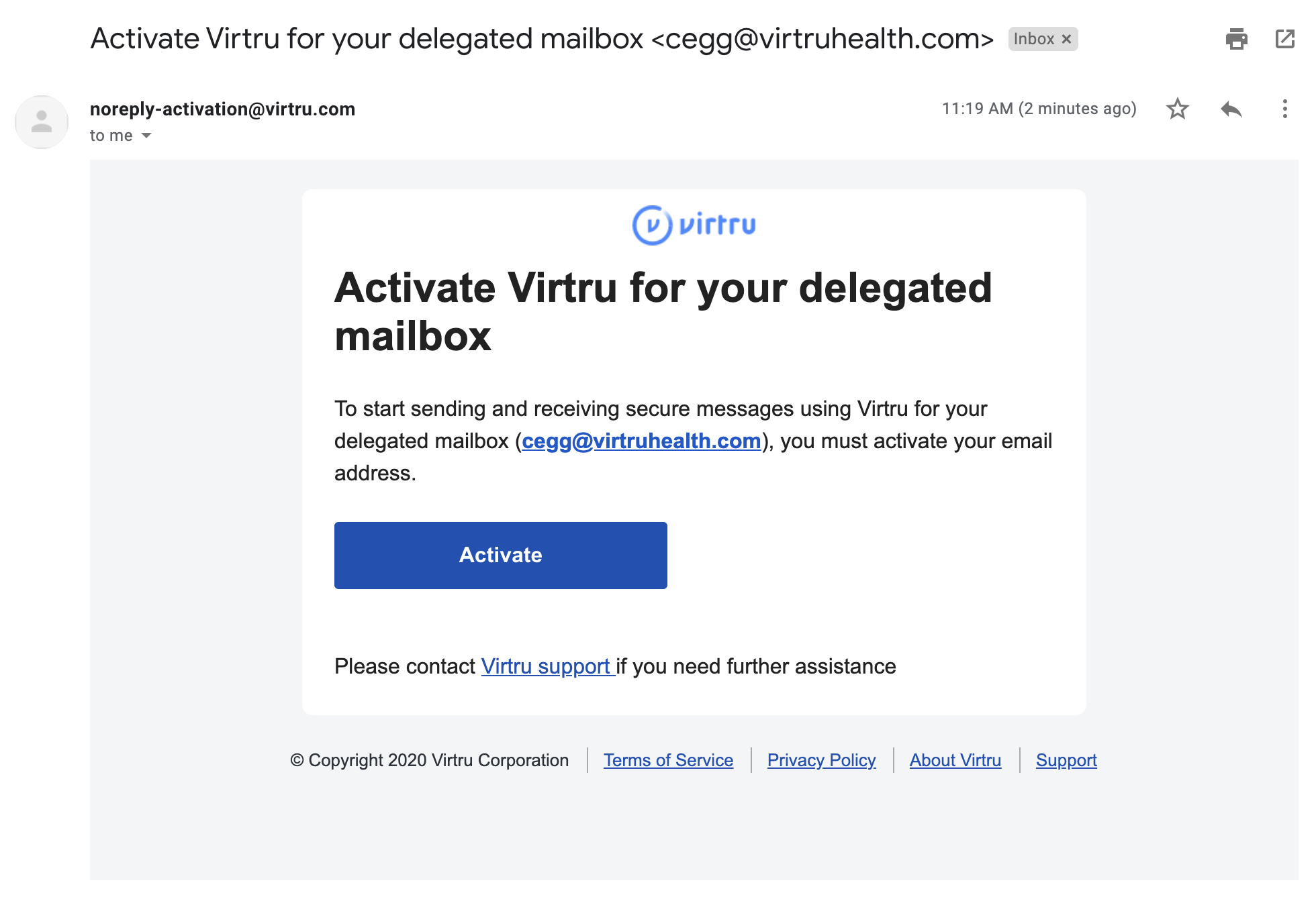 Delegated activation email