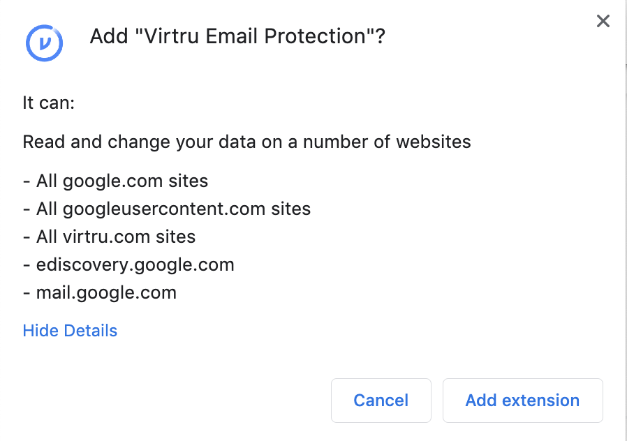 Read and change your data on a number of websites prompt