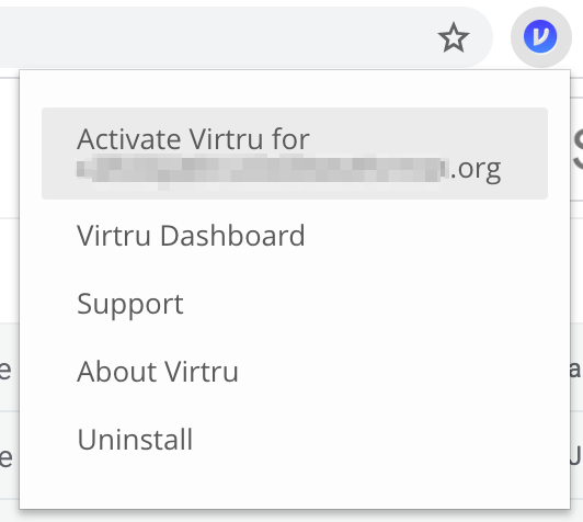 Virtru menu icon with options incuding Activate Virtru for your email address