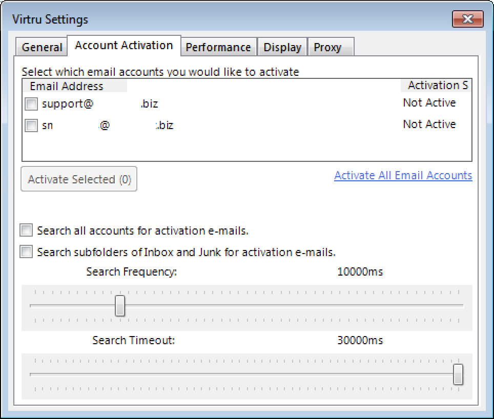Account activation tab
