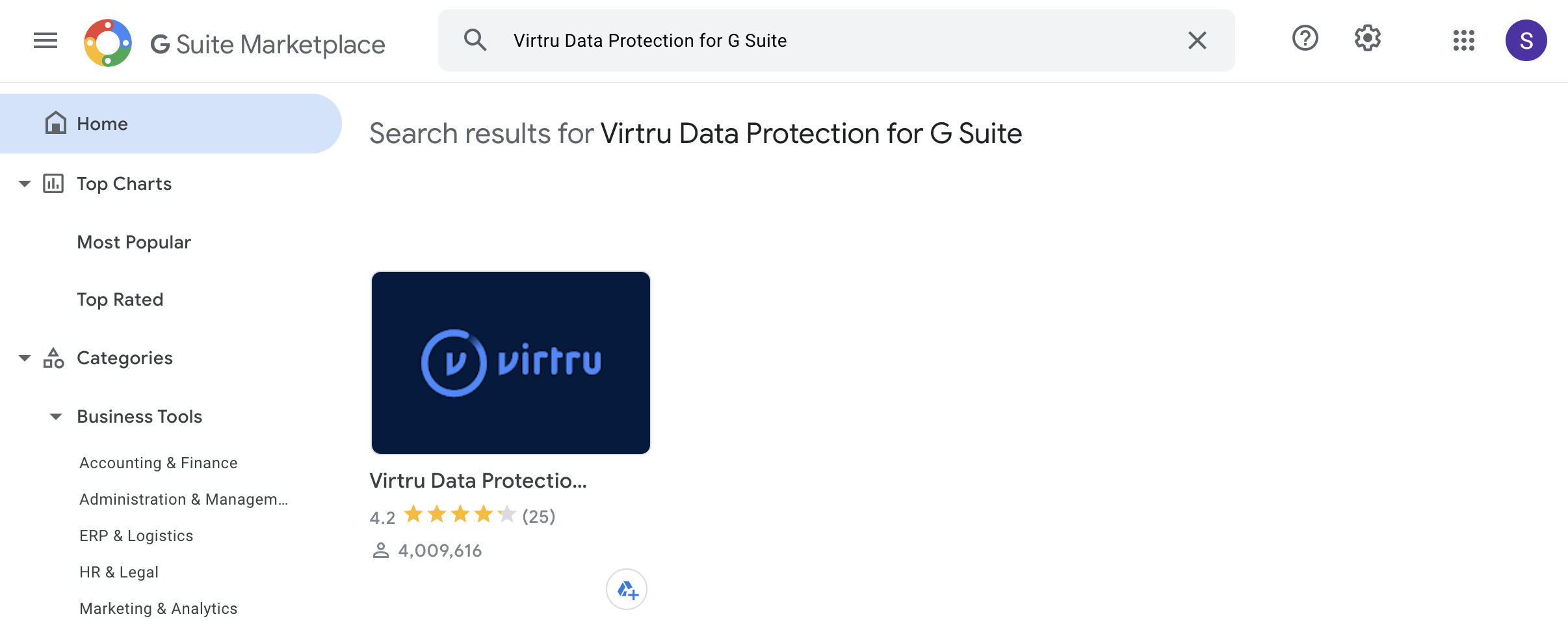 Virtru Data Protection for G Suite in the G Suite Marketplace