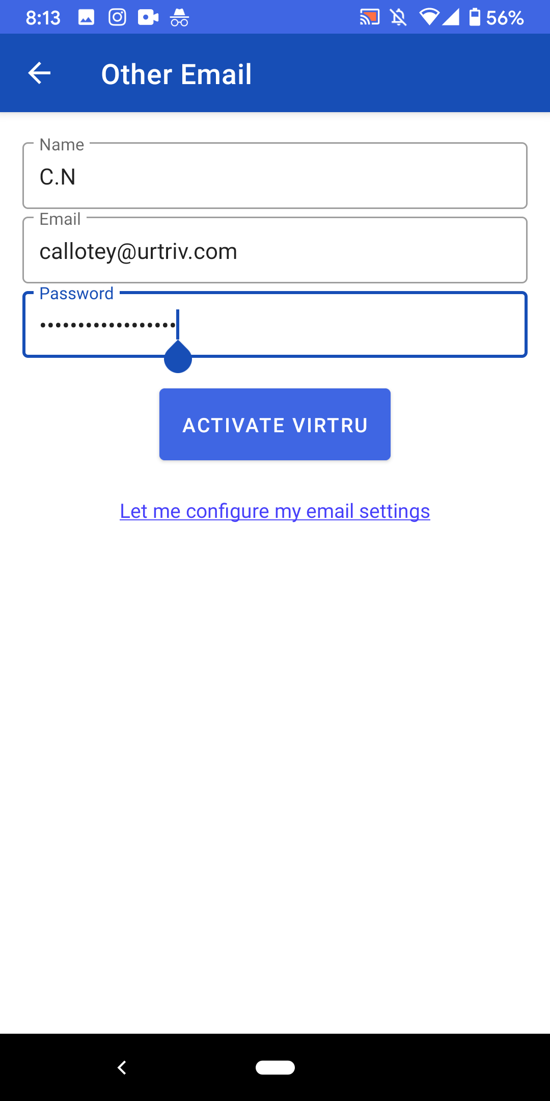 Other email settings fill out